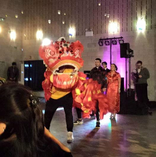 The lion dance kicks off the magical evening